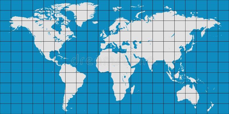 Weltkarte mit beigeordnetem Gitter und Mittags- und paralleles, Karte von Planetenerde lizenzfreie abbildung