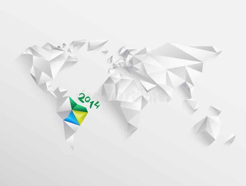 Weltkarte mit hervorgehobenem Brasilien für 2014 vektor abbildung