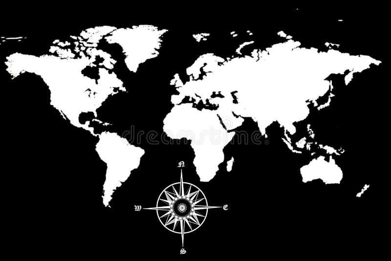 Weltkarte mit Kompaß lizenzfreie abbildung