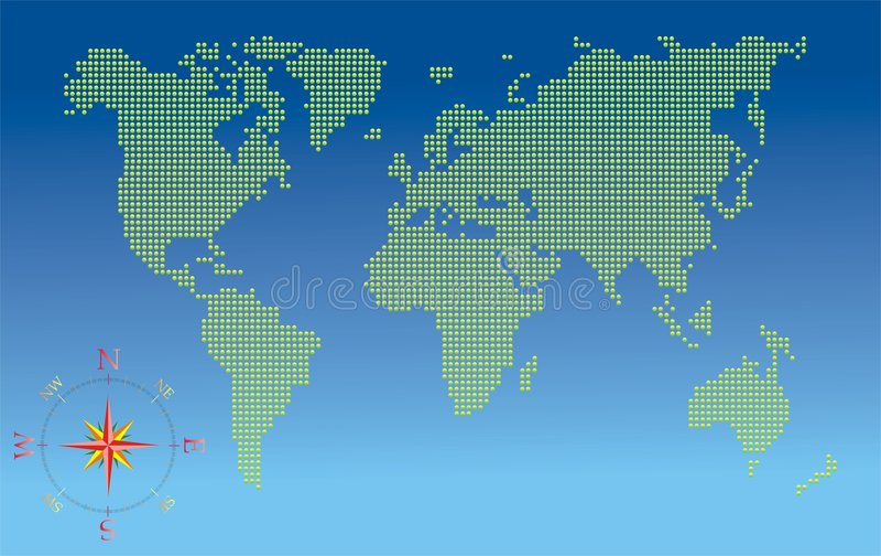 Weltkarte mit Kompaß vektor abbildung