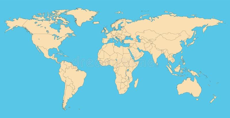 Weltkarte mit Landgrenzen stock abbildung