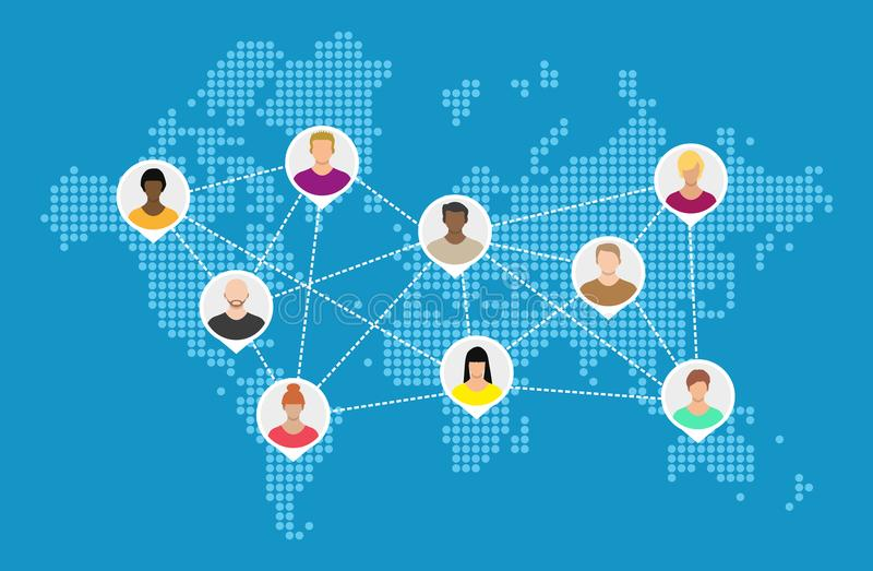 Weltkarte mit Leuteavataras Sozialnetwroking lizenzfreie abbildung