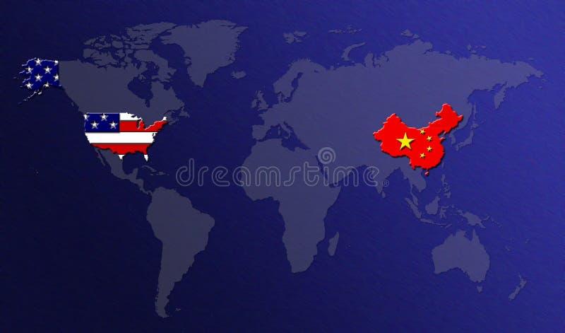Weltkarte mit Markierungsfahnen stock abbildung