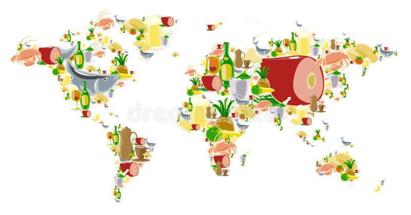 Weltkarte mit Nahrung und Getränken lizenzfreie abbildung