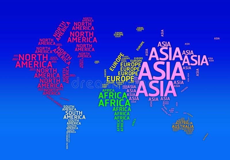 Weltkarte mit Namen von Kontinenten. - Typokarte stock abbildung
