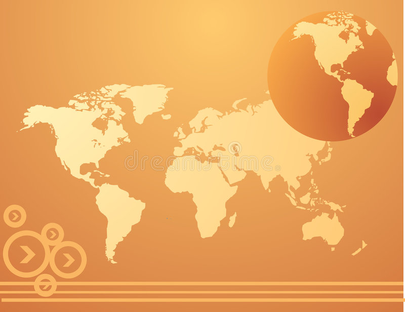 Weltkarte mit Pfeilen lizenzfreie abbildung