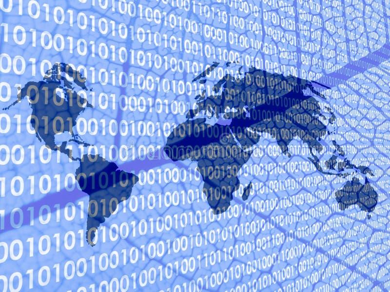 Weltkarte mit Sonderkommandos des binären Codes und des Blattes stock abbildung
