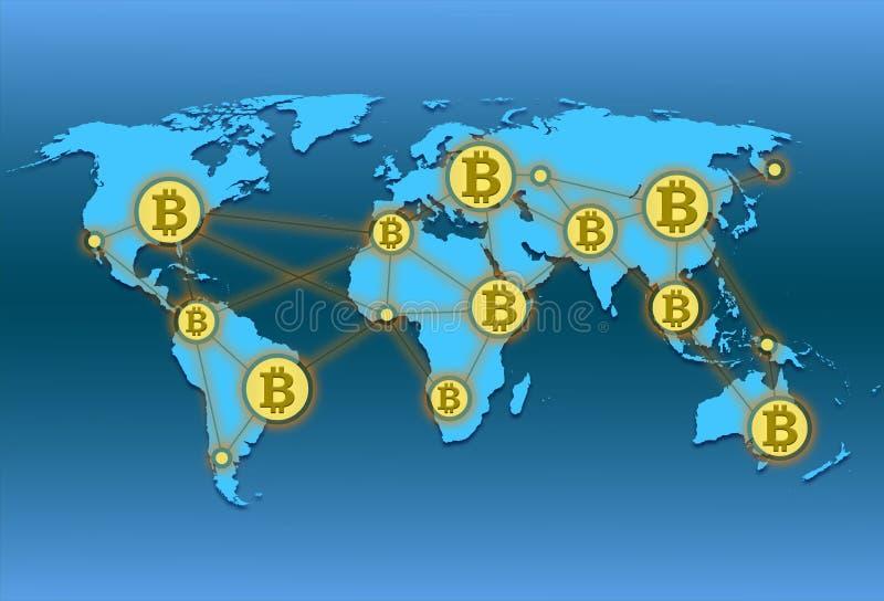 Weltkarte mit Weltnetz und Schlüsselwährung bitcoin vektor abbildung