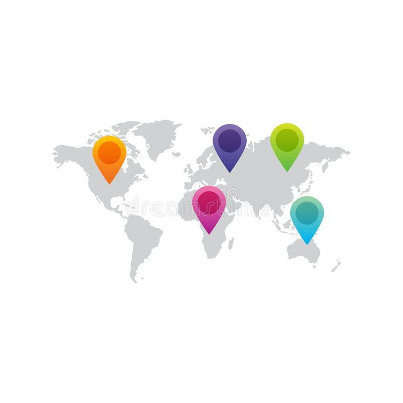 Weltkarte mit Zeigerlogo lizenzfreie abbildung