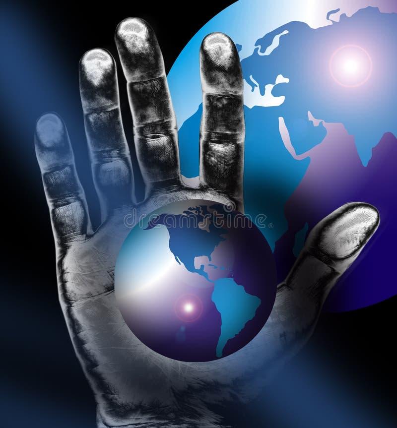 Weltkarte oder -kugel plus Hand vektor abbildung