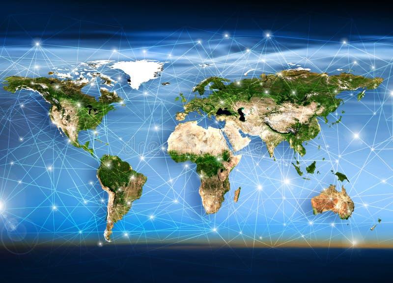 Weltkarte, Strahlen und Linien stock abbildung