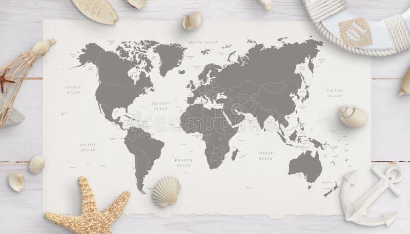 Weltkarte umgeben durch Oberteile, Starfish, Rettungsgürtel, Anker lizenzfreie stockfotos