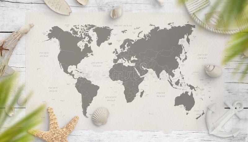 Weltkarte umgeben mit Sommerferien- und -seesachen auf Holztisch stockbild