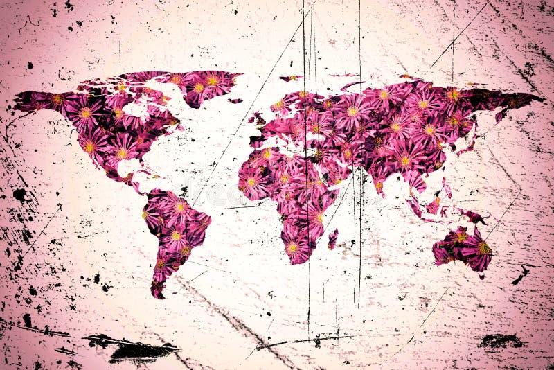 Weltkarte und Blumen lizenzfreie stockfotografie