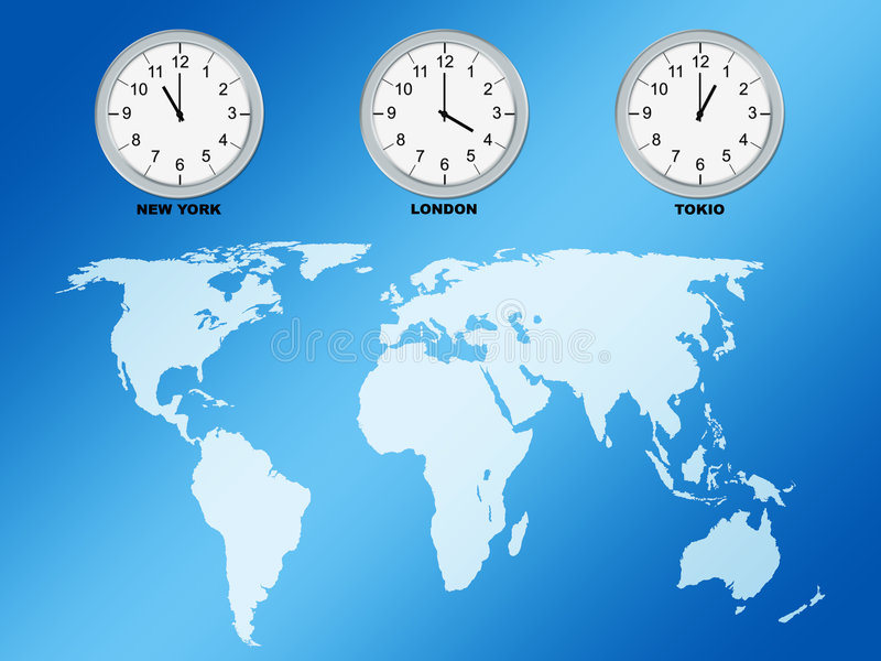 Weltkarte und -borduhren stock abbildung
