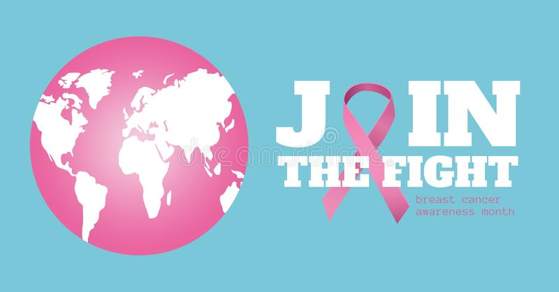 Weltkarte und Brustkrebsbewusstseinskonzept stockbilder