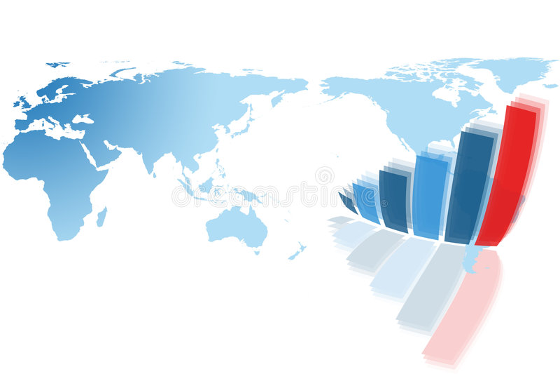 Weltkarte und Diagrammdiagramm lizenzfreie abbildung