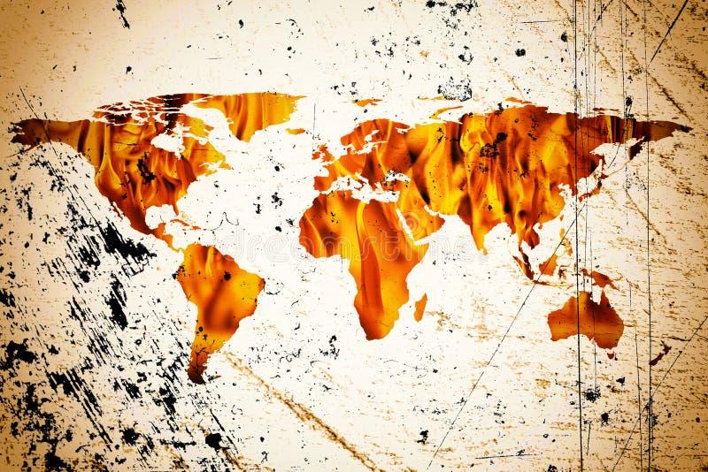 Weltkarte- und Feuerflammen lizenzfreie stockfotos