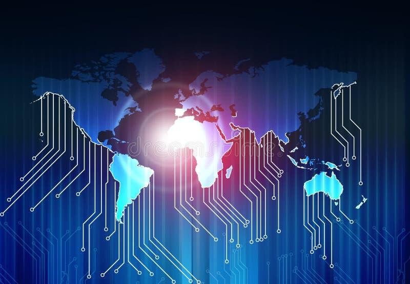 Weltkarte und High-Teche Leiterplatte lizenzfreie abbildung