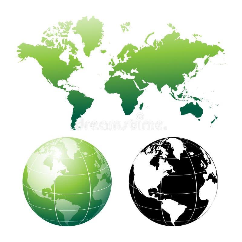 Weltkarte und -kugel lizenzfreie abbildung