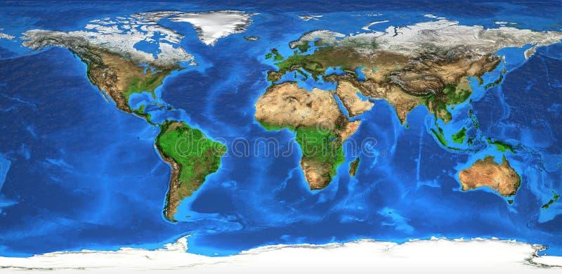 Weltkarte und Landforms der hohen Auflösung stockfotografie