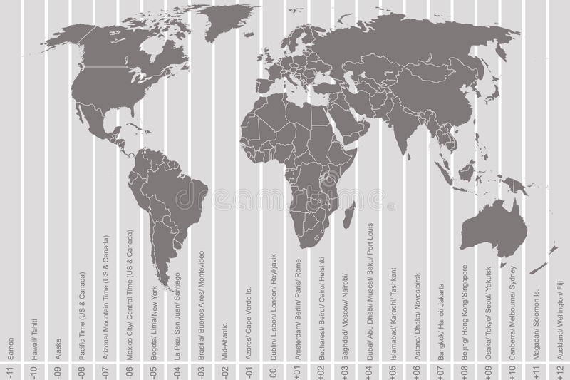 Weltkarte und Zeitzonen stock abbildung