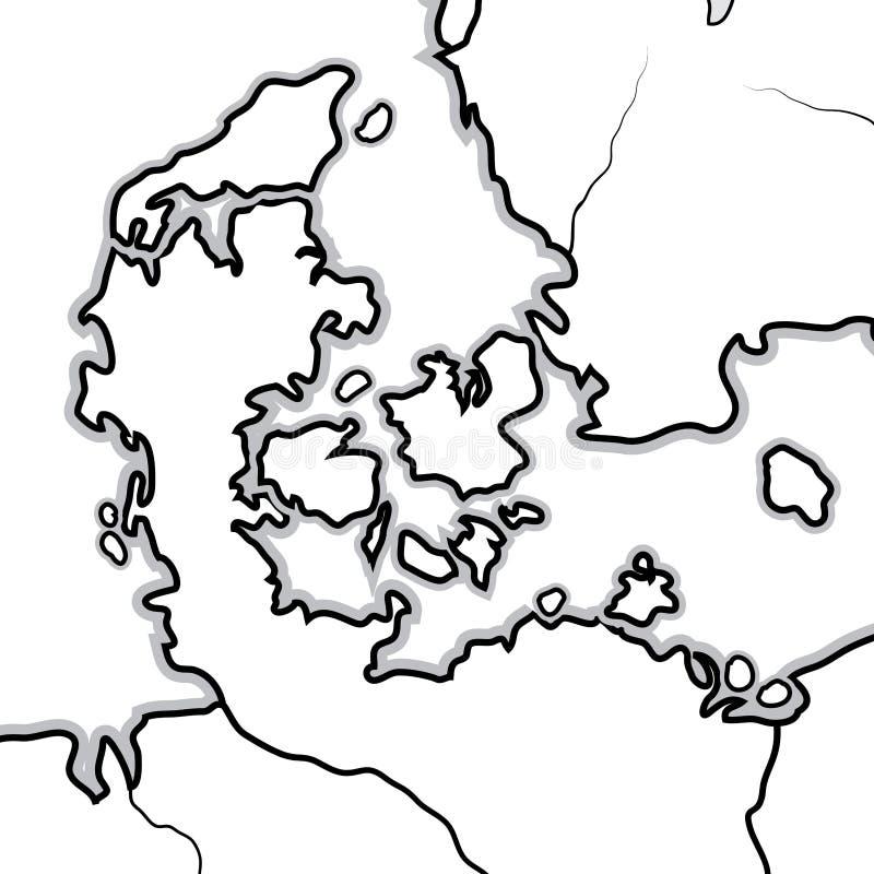 Weltkarte von DÄNEMARK: Dänemark, Jütland, Seeland, Skandinavien, Nord-Europa, Nordsee Geographisches Diagramm vektor abbildung