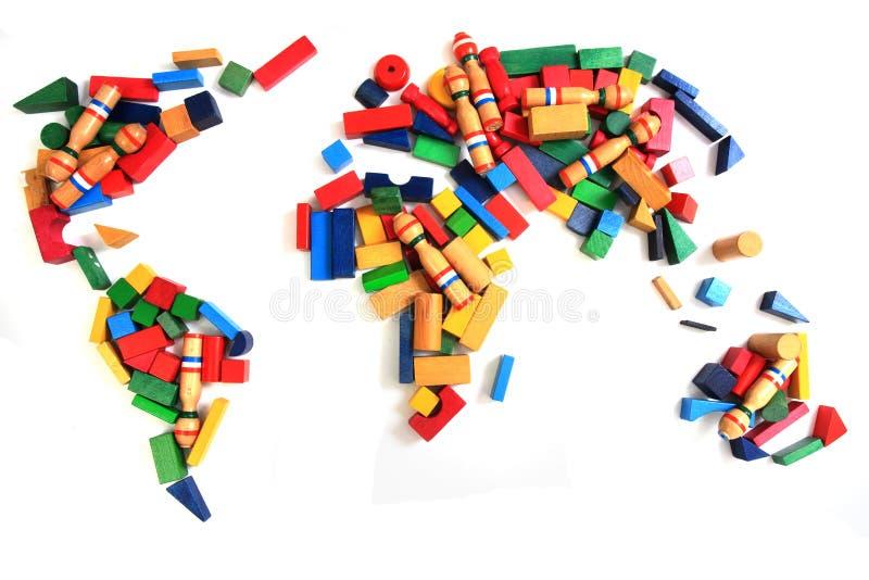 Weltkarte von den hölzernen Farbziegelsteinen lizenzfreies stockbild