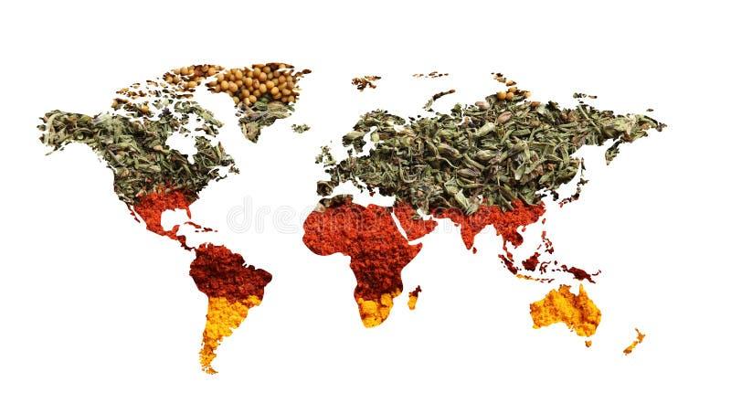Weltkarte von verschiedenen aromatischen Gewürzen auf weißem Hintergrund stock abbildung