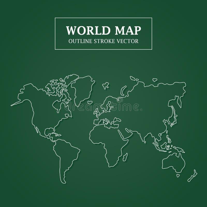 Weltkarte-weißer Entwurfs-Anschlag auf grünem Hintergrund stock abbildung