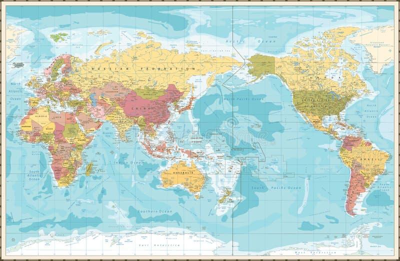 Weltkarte-Weinlese-Farbe Pazifik zentrierte stock abbildung