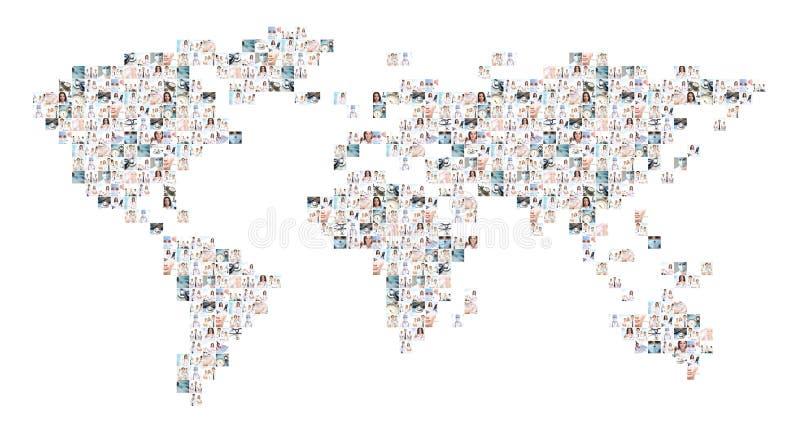 Weltkartecollage von medizinischen Bildern lizenzfreie stockfotos