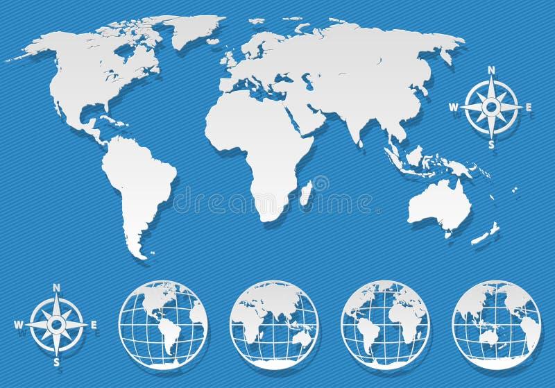 Weltkarteelemente lizenzfreie abbildung