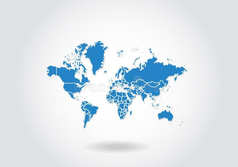 Weltkarteentwurf mit Art 3D Blaue Weltkarte und Staatsflagge Einfache Vektorkarte mit Kontur, Form, Entwurf, auf weißem stock abbildung