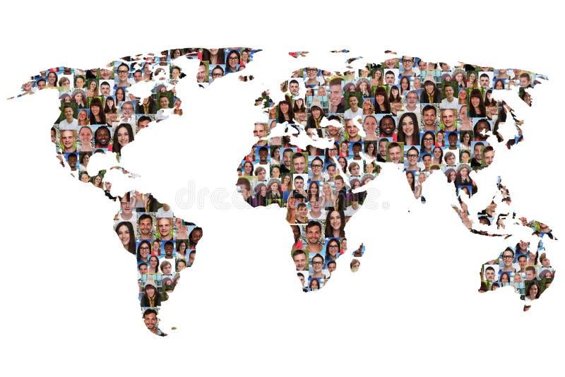 Weltkarteerdmultikulturelle Gruppe von Personenen-Integrationstaucher stockfoto