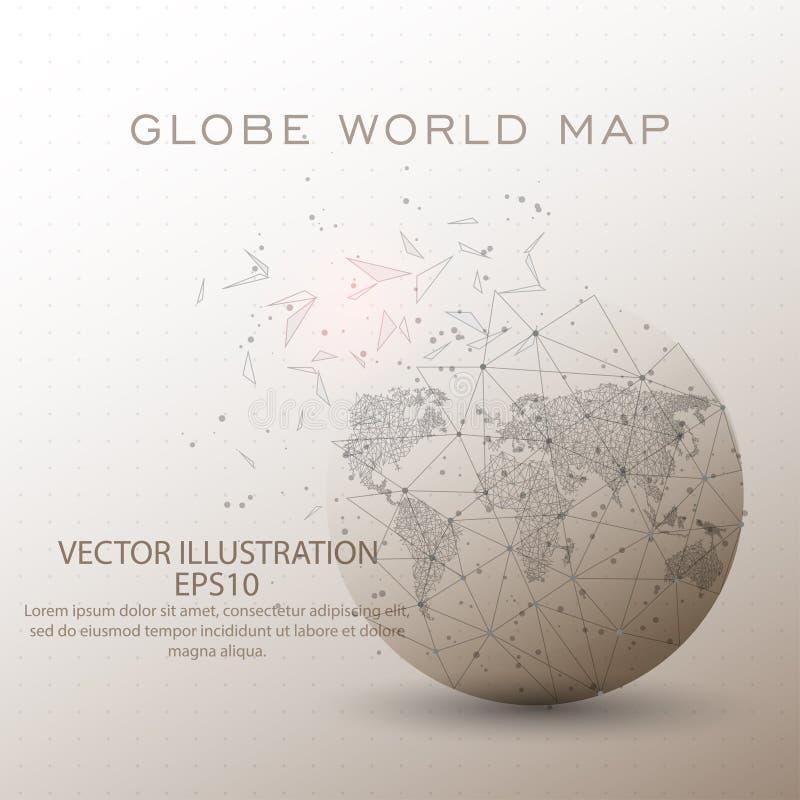 Weltkartekugelniedriger Polydrahtrahmen lizenzfreie abbildung