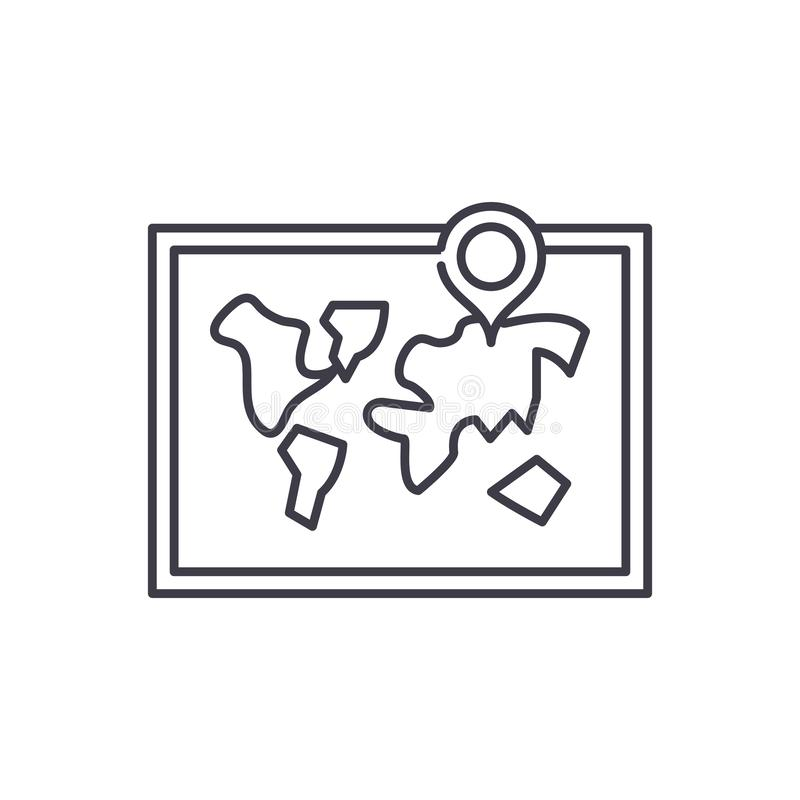 Weltkartelinie Ikonenkonzept Lineare Illustration des Weltkartevektors, Symbol, Zeichen stock abbildung