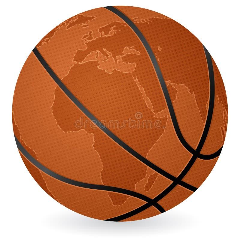 Weltkarten-Basketballkugel vektor abbildung