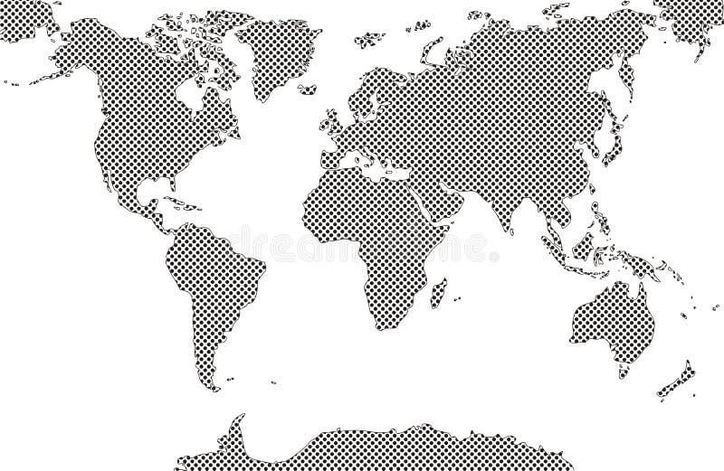 Weltkarten füllten Punktkuhmuster stock abbildung