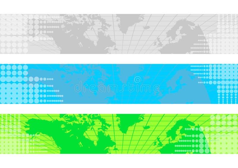 Weltkarten-Fahne lizenzfreie abbildung