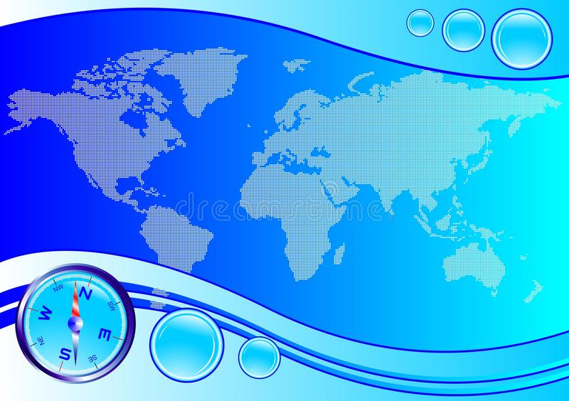 Weltkarten-Kompaßvektor stock abbildung