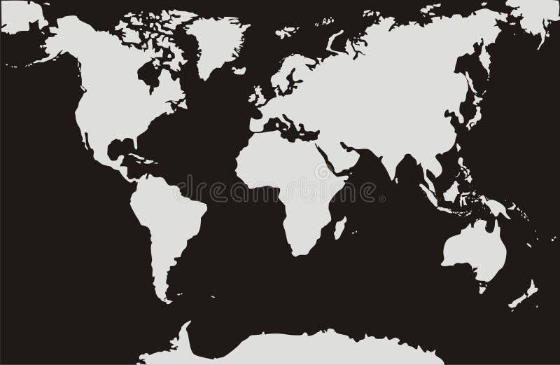 Weltkarten mit einem schwarzen Hintergrund lizenzfreie abbildung