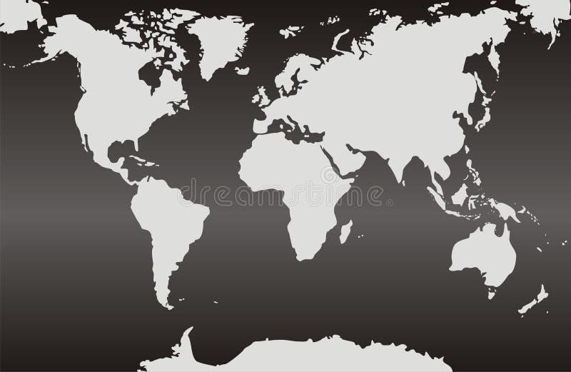 Weltkarten mit einem schwarzen Steigungshintergrund lizenzfreie abbildung