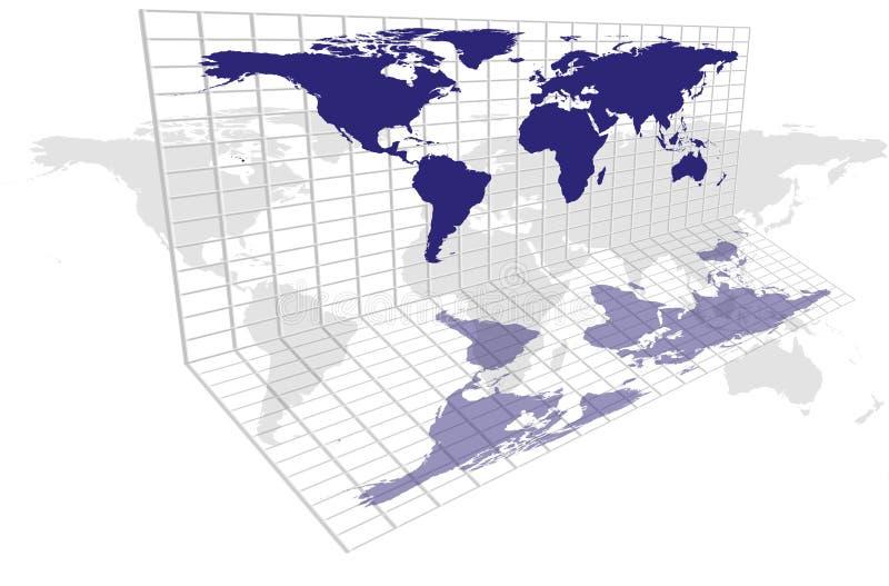 Weltkarten-Rasterfeld stock abbildung