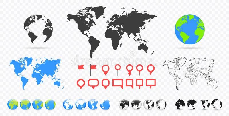 Weltkarten und Kugelsatz Konzeption des Erfolgs und der progres mit gezeichnetem Diagramm, Diagrammen und Pfeilen Stifte eingeste vektor abbildung