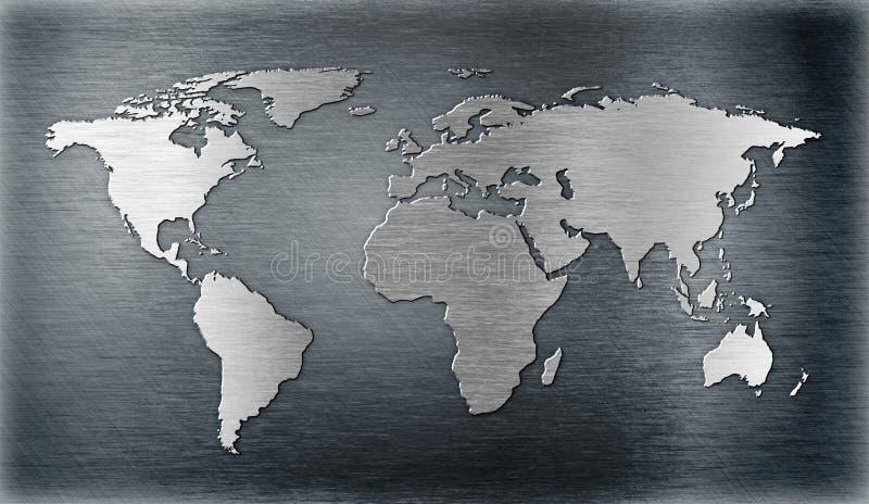 Weltkartenentlastung oder -form auf Metallplatten stock abbildung