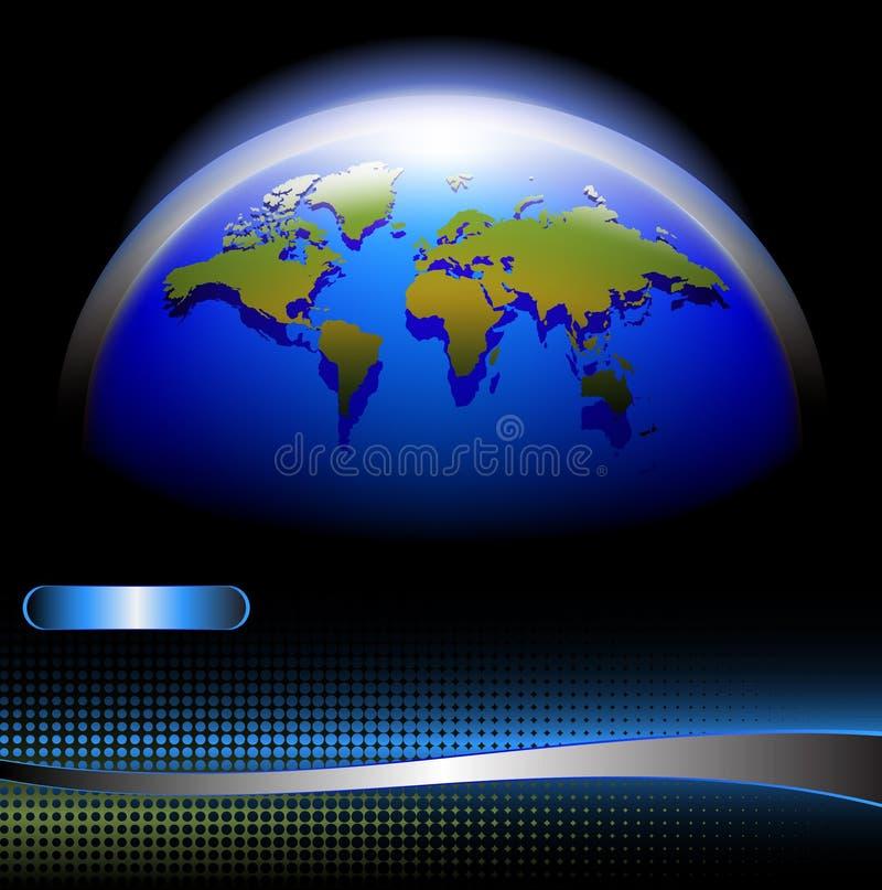 Weltkartenfahne stock abbildung