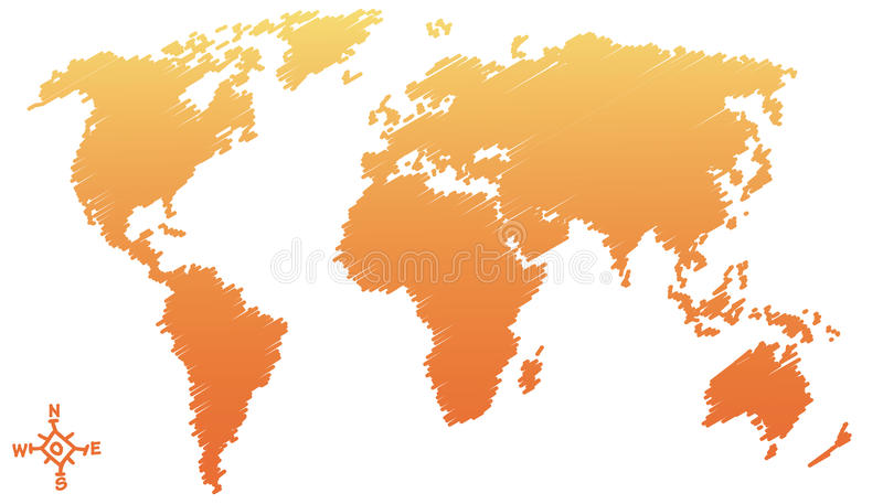 Weltkartenzeichnung, Bleistiftskizze vektor abbildung