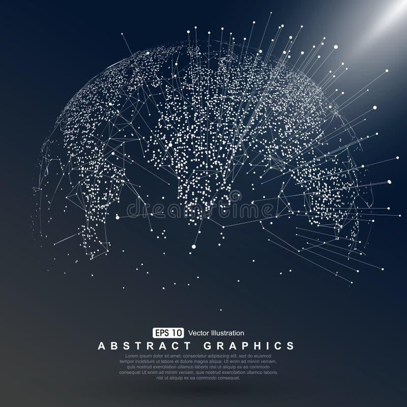 Weltkartepunkt, das globale darstellend, Verbindung des globalen Netzwerks, internationale Bedeutung lizenzfreie abbildung