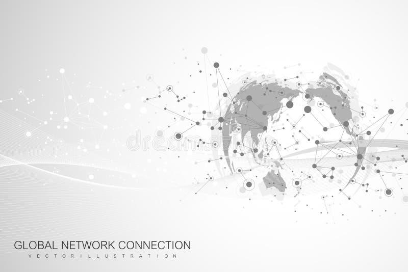 Weltkartepunkt mit globalem Technologievernetzungskonzept Digital-Daten-Sichtbarmachung Zeichnet Plexus Großer Daten-Hintergrund lizenzfreie abbildung
